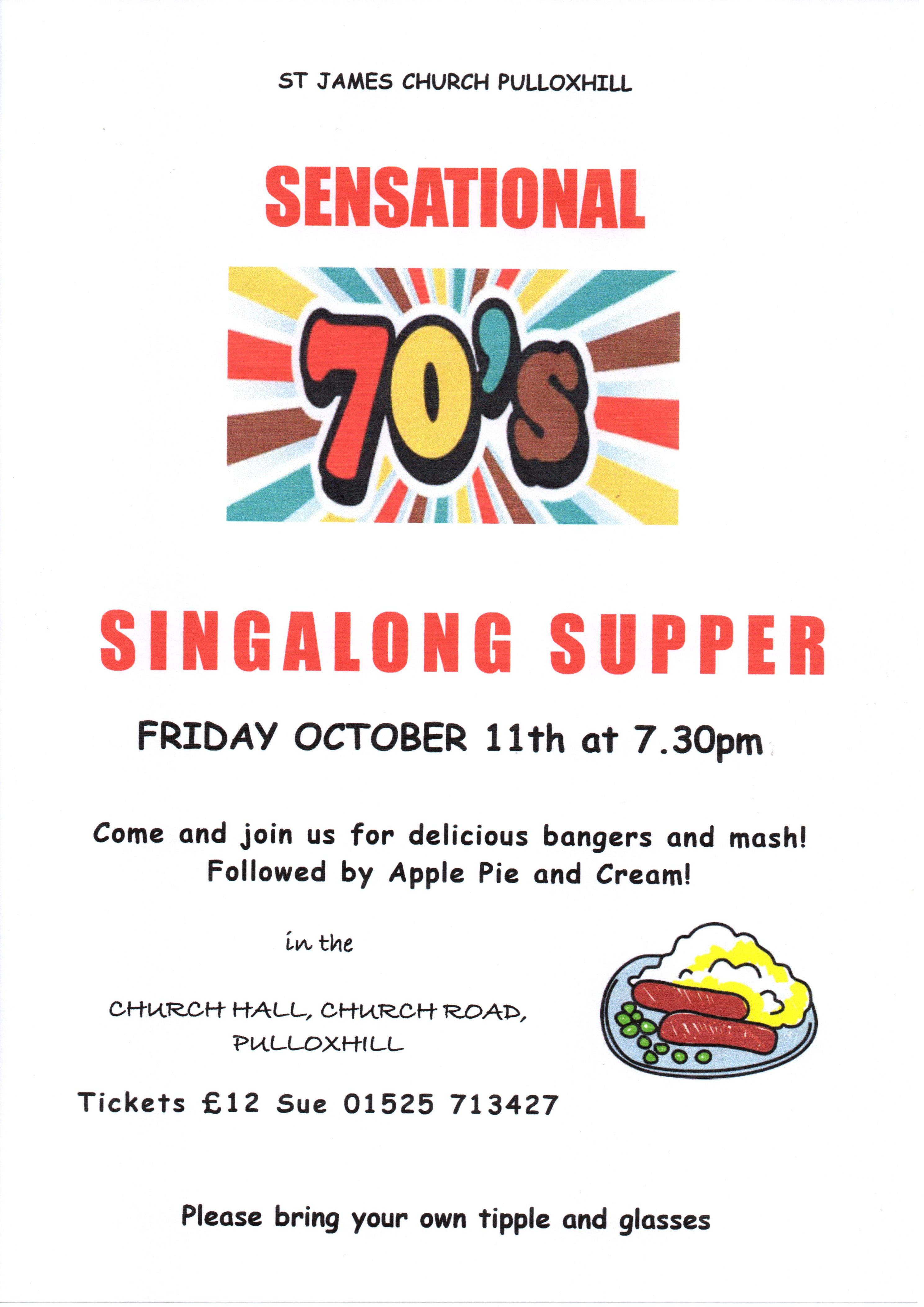 SEVENTIES SINGALONG SUPPER 11/10/2019